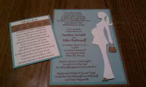 Baby shower invites, pregnant lady