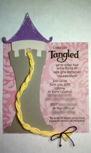 tangled invitations, handmade invitations, rapunzel, tower, castle, princess, birthday party, girl, tangled svg