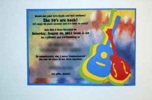 guitar, mandolin svg, 70s invitations, handmade card, tie dye, 60s