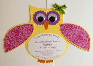 handmade owl invitation, birthday party, baby shower, owl svg