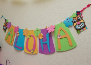 Luau banner, hawaiian party decorations, kids birthday, tiki mask