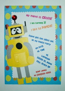 Handmade yo gabba gabba invitation, card, plex, birthday, party, kids, character, cartoon