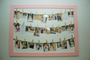 Handmade picture frame with ribbons and clothespins